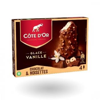 4 Côte d'Or Vanille, enrobage Chocolat et Noisettes