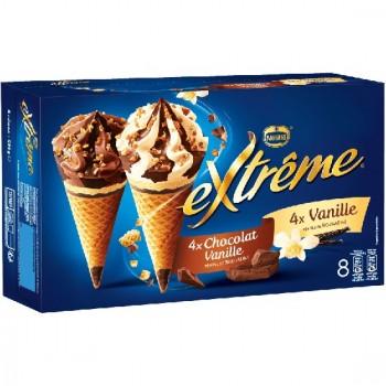 8 Extrême Cônes Panaché Vanille et Chocolat Vanille