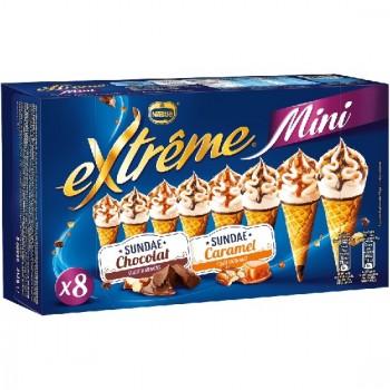 8 Mini Extrême Cônes Sunday Chocolat Sunday Caramel